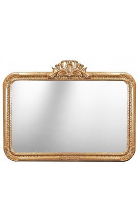 Grand miroir baroque rectangulaire de style Louis XV Rocaille
