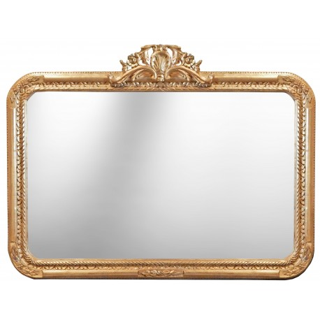 Grand miroir baroque rectangulaire de style louis xv rocaille for Grand miroir large