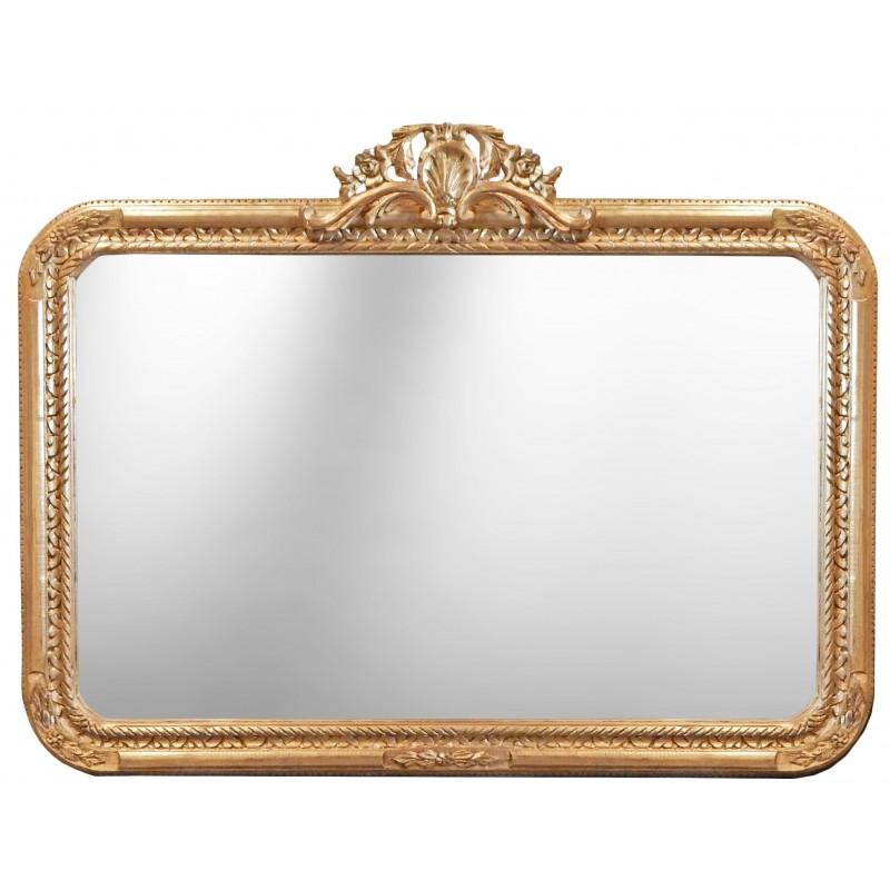 Grand miroir rectangulaire baroque de style louis xv rocaille for Miroir style