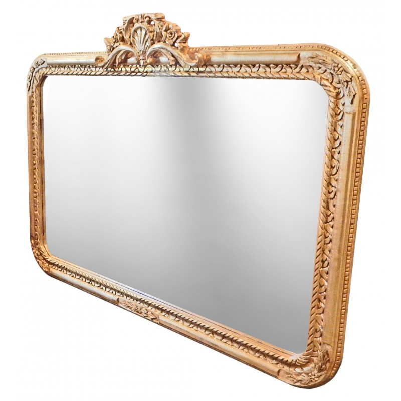 Grand miroir baroque rectangulaire de style louis xv rocaille for Miroir style baroque