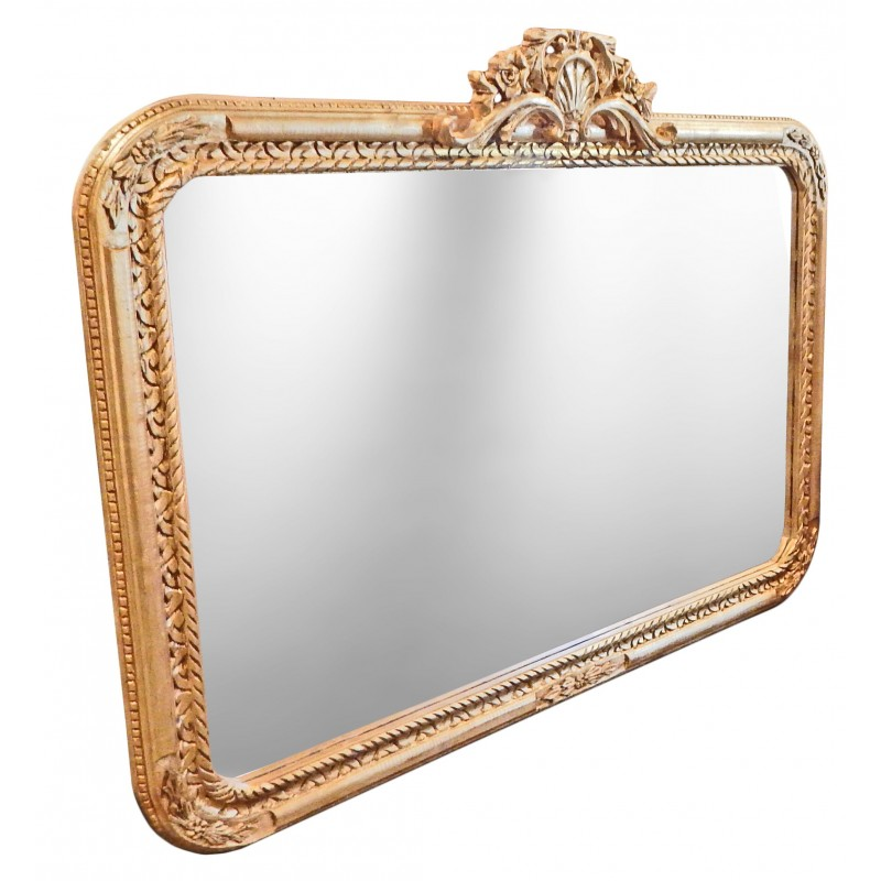 Grand miroir baroque rectangulaire de style louis xv rocaille for Grand miroir baroque