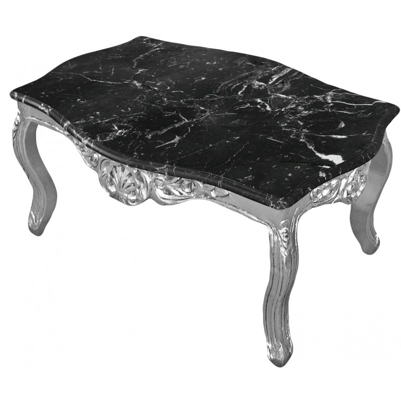 table basse de salon style baroque en bois argent e avec marbre noir. Black Bedroom Furniture Sets. Home Design Ideas