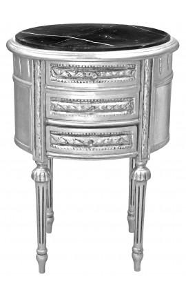 Table de nuit (chevet) tambour ovale en bois argenté avec 3 tiroirs et marbre noir