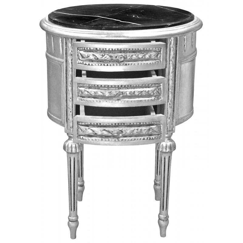 Table de nuit chevet tambour ovale en bois argent avec - Table de chevet argente ...