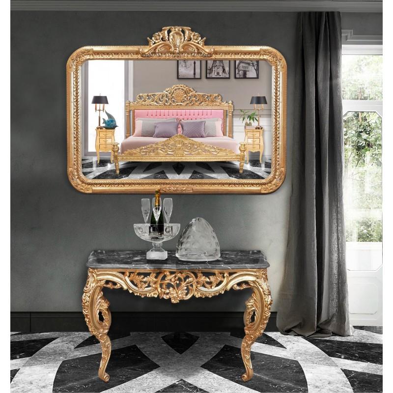 Large rectangular mirror baroque louis xv rocaille for Rectangular baroque mirror