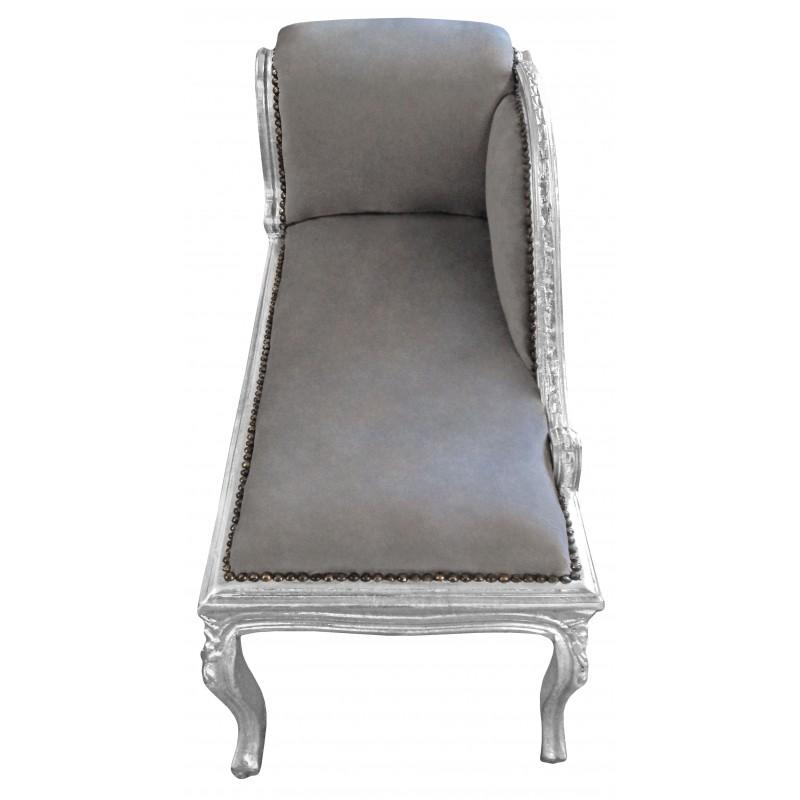 M ridienne de style louis xv tissu gris et bois argent - Meridienne style baroque ...