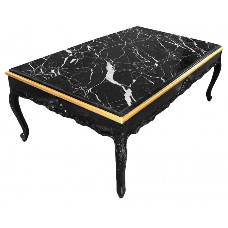 Grande Table Basse Bois - Grande table basse de style baroque bois laqué noir et marbre noir