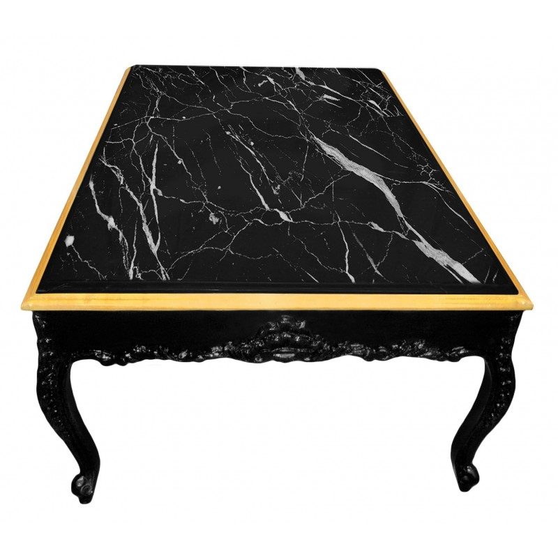Large Coffee Table Baroque Style Black Shine Wood And Black Marble
