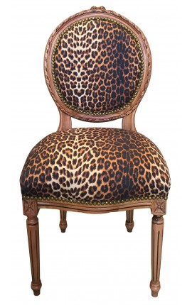 Louis XVI style chair leopard fabric and raw wood