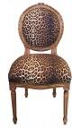 Chaise de style Louis XVI tissu léopard et bois naturel
