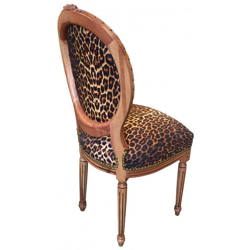 chaise de style louis xvi tissu l opard et bois naturel. Black Bedroom Furniture Sets. Home Design Ideas