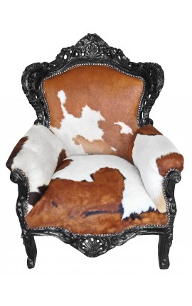 Big baroque style armchair real cow-hide and black wood