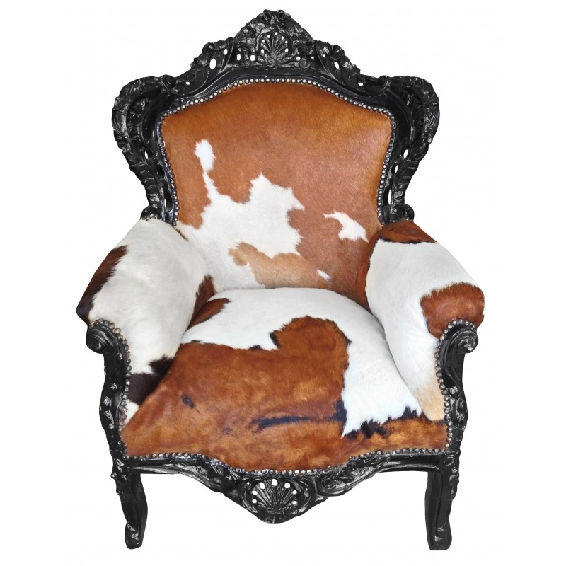 big baroque style armchair real cow hide brown and black wood. Black Bedroom Furniture Sets. Home Design Ideas