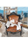 Grand fauteuil de style baroque en vrai peau de vache marron et bois laque noir