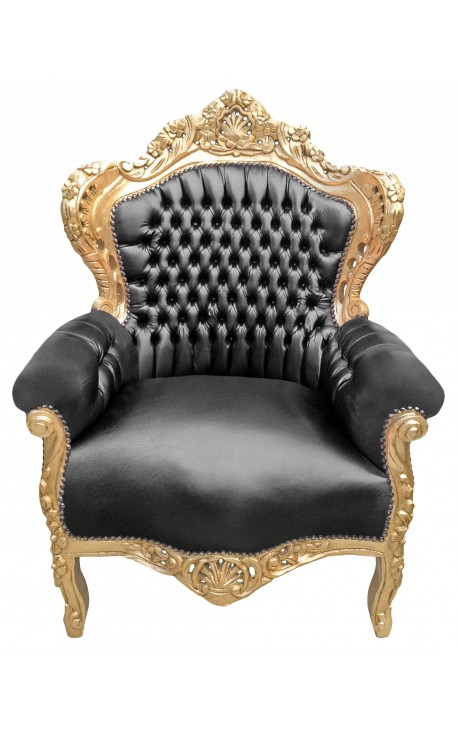 Big baroque style armchair black leatherette and wood gold