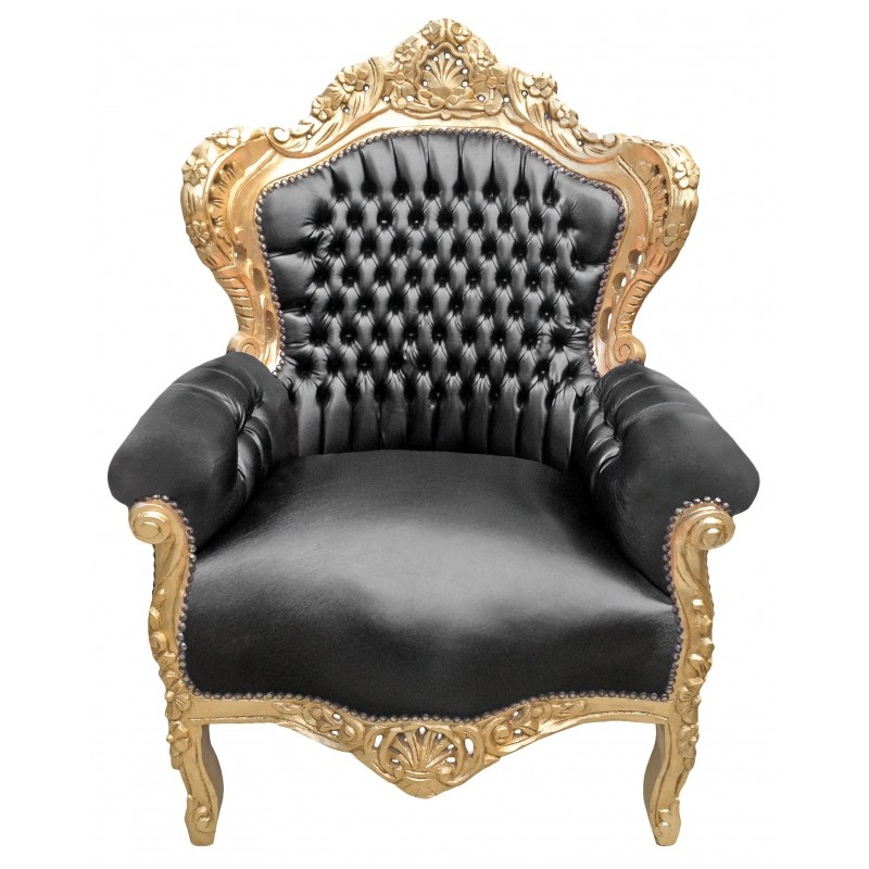 Big baroque style armchair black leatherette and gold wood