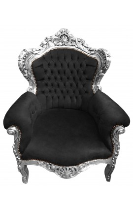 Big baroque style armchair black velvet and silver wood