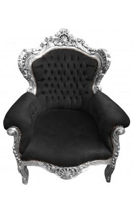 Grand fauteuil de style baroque velours noir et bois argent