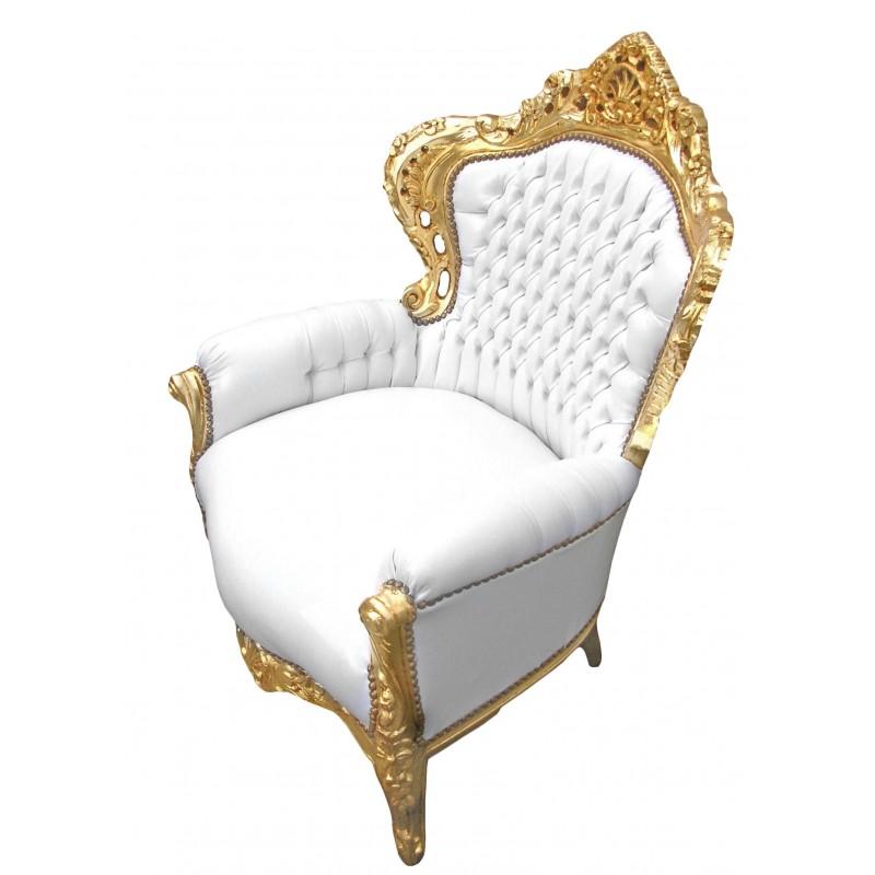 grand fauteuil de style baroque tissu simili cuir blanc et. Black Bedroom Furniture Sets. Home Design Ideas