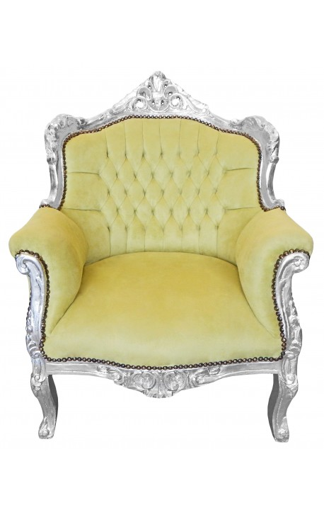 Armchair quot princely baroque style green velvet and silver wood
