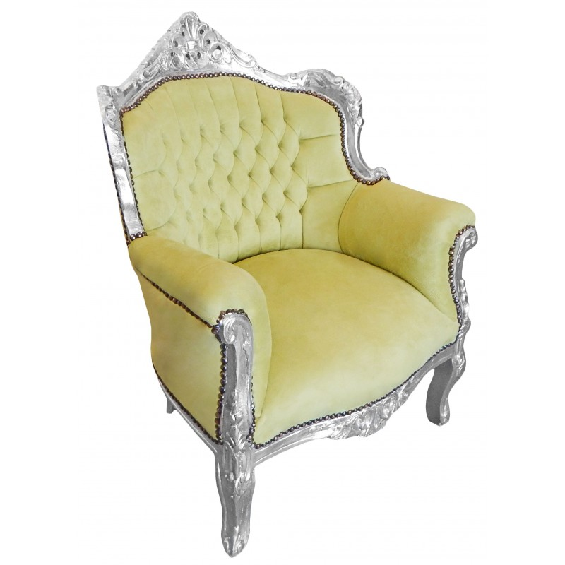 Silver Lime Wood ~ Armchair quot princely baroque style green velvet and silver wood