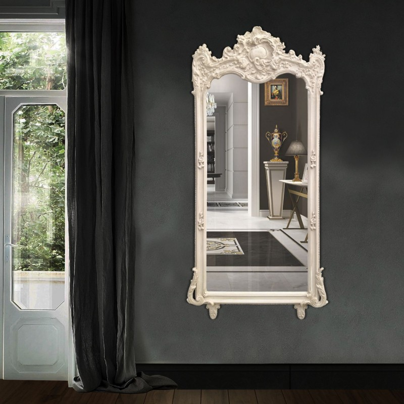 Grand miroir baroque rectangulaire beige patin for Miroir baroque rectangulaire