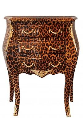 Table de nuit (chevet) commode baroque léopard avec bronzes dorés et 3 tiroirs