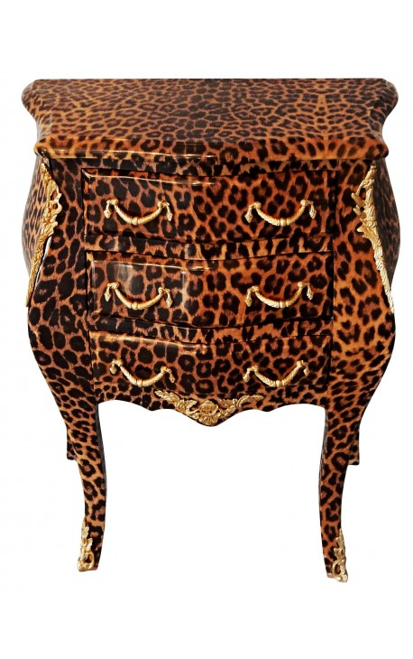 Nightstand Bedside Leopard Baroque With Gilded Bronze With 3 Drawers