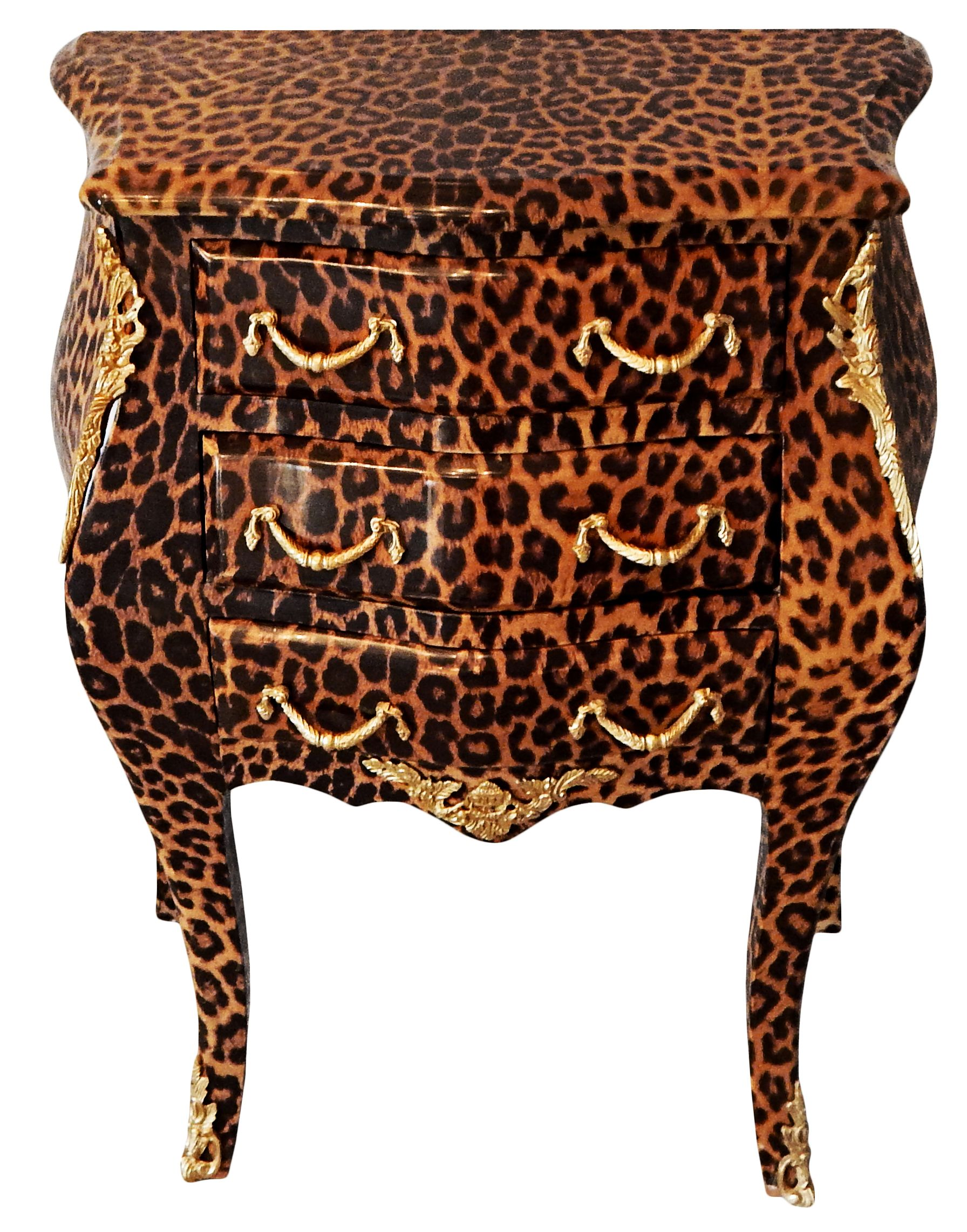 Bedside Table Bedside Leopard Baroque Chest Of Drawers