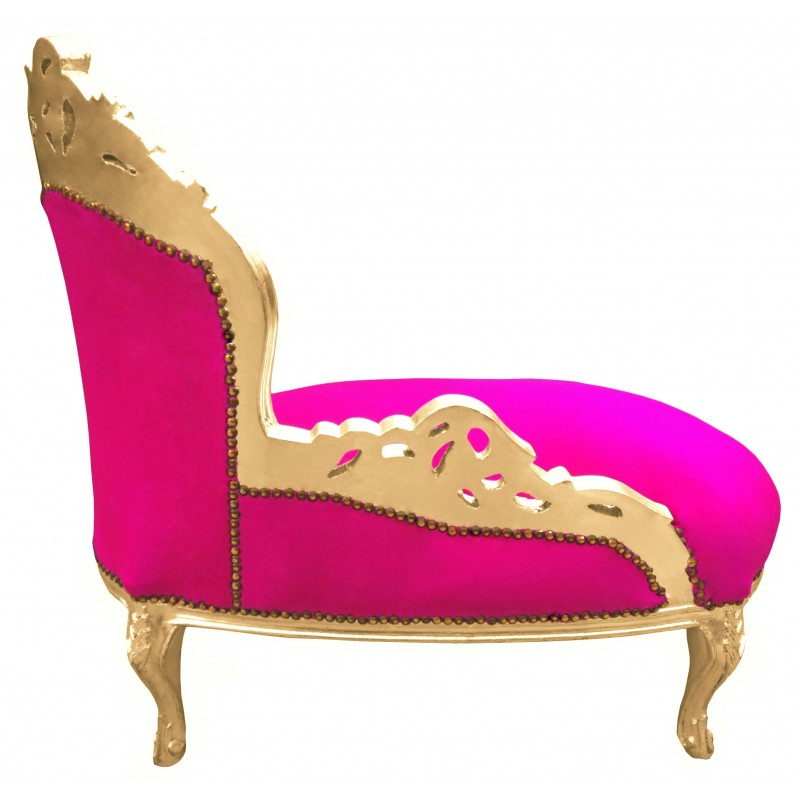 Baroque chaise longue fuchsia velvet with gold wood - Chaise baroque argentee ...