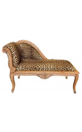 Méridienne de style Louis XV tissu léopard et bois naturel