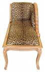 Baroque daybed leopard texture and raw wood