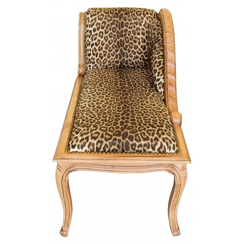 M ridienne de style louis xv tissu l opard et bois naturel - Meridienne style baroque ...