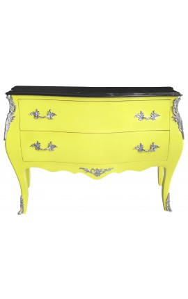 Baroque chest of drawers (commode) of style Louis XV yellow luminescent and black top with 2 drawers