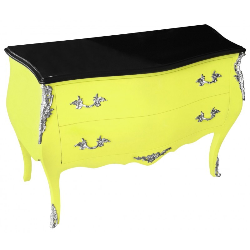 commode baroque de style louis xv jaune fluo et plateau noir avec 2 tiroirs. Black Bedroom Furniture Sets. Home Design Ideas
