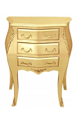 Table de nuit (chevet) commode baroque en bois doré avec 3 tiroirs