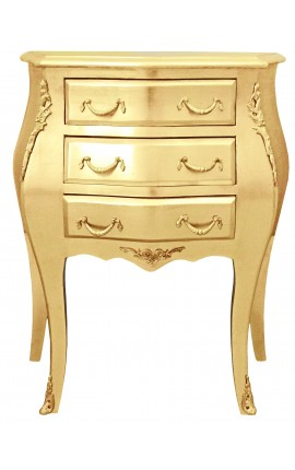Bedside (nighstand) baroque wooden gold chest with 3 drawers