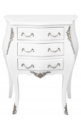 Nightstand (Bedside) baroque white wood lacquered silver bronze with 3 drawers