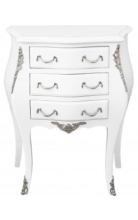Table de nuit (chevet) commode baroque laquée blanc avec bronzes argentés et 3 tiroirs