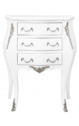 Bedside (bedside) baroque white wood lacquered chest silver bronze with 3 drawers