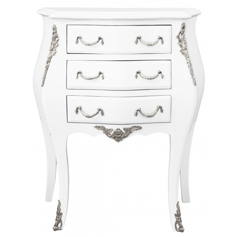 Table de nuit chevet commode baroque laqu e blanc - Table de nuit baroque ...