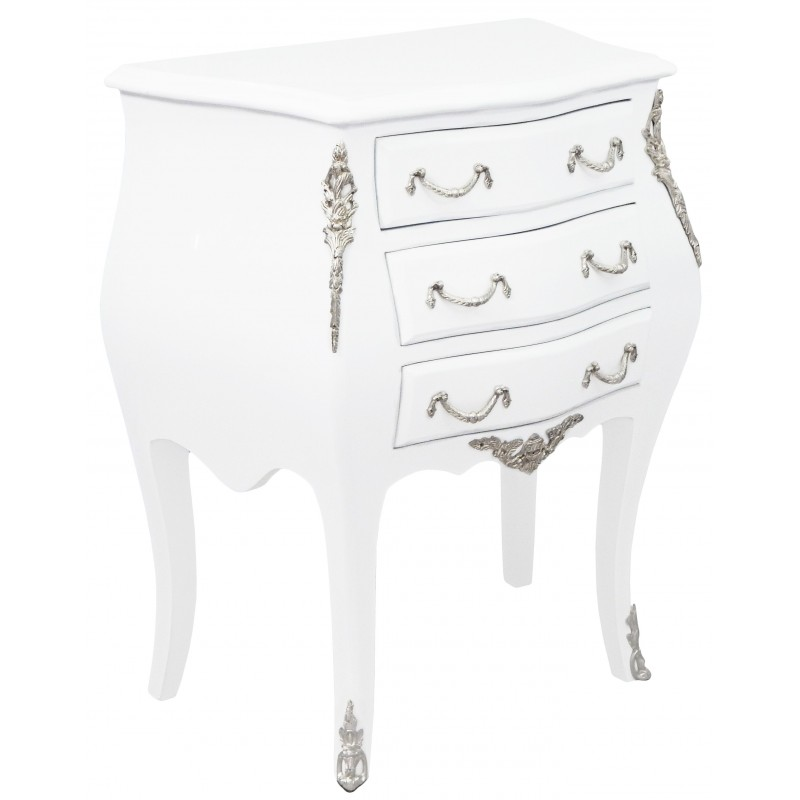 Table de nuit chevet commode baroque laqu e blanc for Table de chevet style baroque