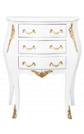 Nightstand (Bedside) baroque wooden white gold bronze
