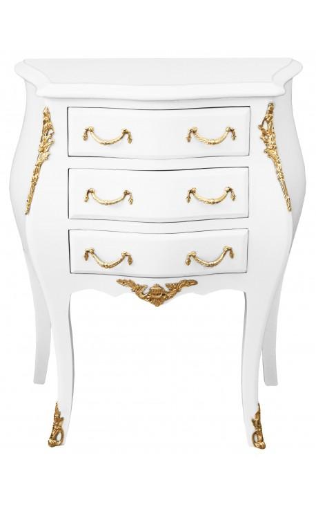 Table de nuit (chevet) commode baroque laquée blanc bronzes dorés