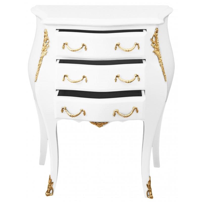 Table de nuit chevet commode baroque laqu e blanc avec - Table de nuit baroque ...
