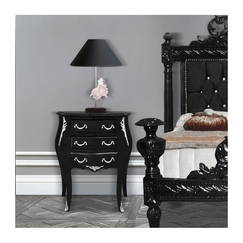 table de nuit chevet commode baroque en bois noir bronzes argent s. Black Bedroom Furniture Sets. Home Design Ideas