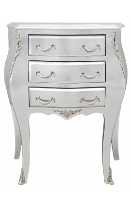 Bedside (bedside) baroque wooden silver chest with 3 drawers