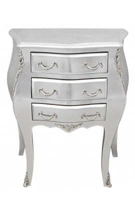 Nightstand (Bedside) baroque wooden silver with silver bronzes