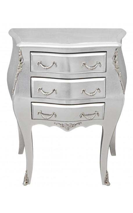 Table de nuit (chevet) commode baroque en bois argenté avec 3 tiroirs