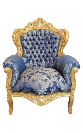 "Big baroque style armchair blue ""Gobelins"" fabric and gold wood"